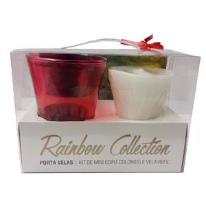 Kit de Velas Decorativa Rainbow Collection Vermelha 5,1x7cm
