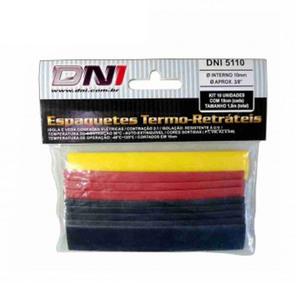 "Kit Espaguete Termo Retrátil 10 unidades de 100x10mm 3/8"""