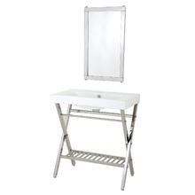 Kit Gabinete de Banheiro Com Espelho New York Aço Inox e Cerâmica Branco  Com Cuba Importado