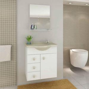 Kit Gabinete de Banheiro com Espelho Astro MDF Branco/Biscuit com Cuba Moldada Darabas