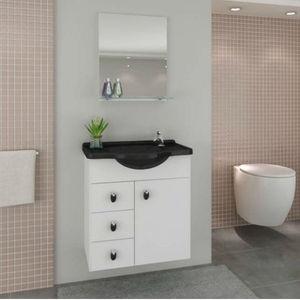 Kit Gabinete de Banheiro com Espelho Astro MDF Branco/Preto com Cuba Moldada Darabas