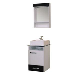 Kit Gabinete de Banheiro Com Espelho Caribe MDF Preto Sem Cuba Bonatto