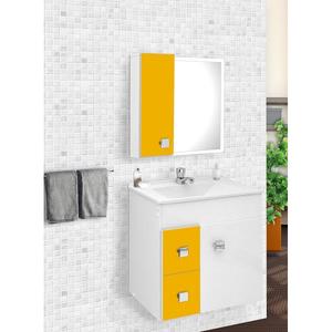 Kit Gabinete de Banheiro Ecco Suspenso 60 58x56x34cm Branco e Amêndoa Fabribam
