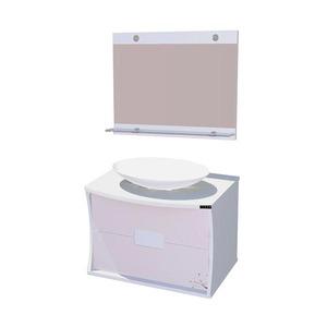 Kit Gabinete de Banheiro Com Espelho Florença MDF Branco Com Cuba Titan
