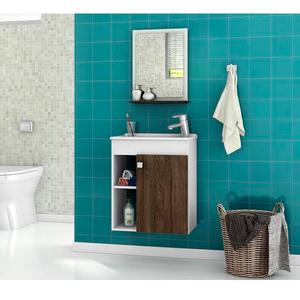 Kit Gabinete de Banheiro Madeira Avelã 45x46x31,4 Nory Móveis Bechara