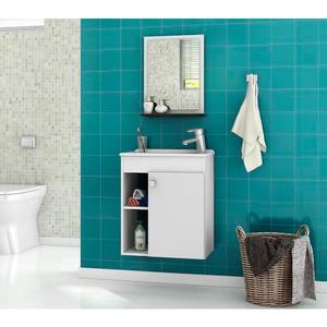 Kit Gabinete de Banheiro Madeira Branco 45x46x31,4 Nory Móveis Bechara
