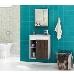 Kit Gabinete de Banheiro Madeira Wengle 45x46x31,4 Nory Móveis Bechara