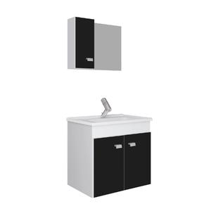 Kit Gabinete de Banheiro Madeira Branco e Preto 45x48x34,2cm Gaam