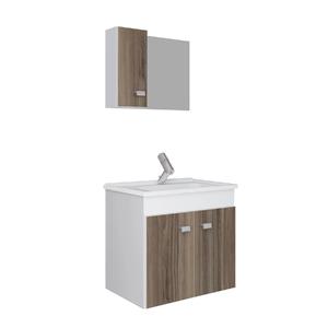 Kit Gabinete de Banheiro Madeira Branco e Noce 45x48x34,2cm Gaam