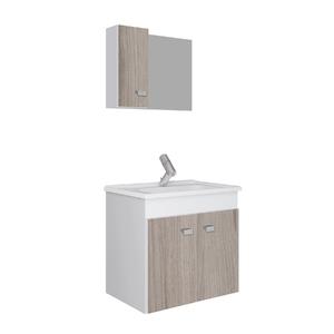 Kit Gabinete de Banheiro Madeira Branco e Grigio 45x48x34,2cm Gaam
