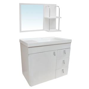 Kit Gabinete de Banheiro Madeira Branco 48x51x31,5cm Siena Sicmol