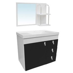 Kit Gabinete de Banheiro Madeira Branco e Preto 48x51x31,5cm Siena Sicmol