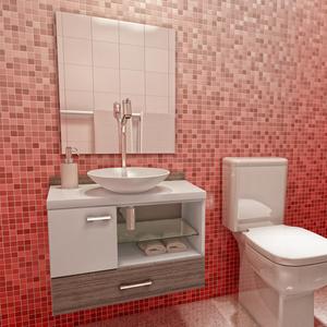 Kit Gabinete de Banheiro Madeira Branco e Marrom 48x60x35cm Nekkar Vtec