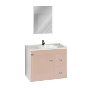 Kit Gabinete de Banheiro Madeira Delicato 50x35x57cm Belarte Policlass