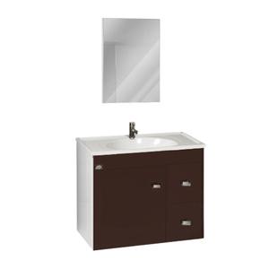Kit Gabinete de Banheiro Madeira Nogueira 50x35x57cm Belarte Policlass