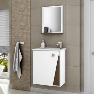 Kit Gabinete de Banheiro Madeira Branco e Marrom 54x46x31,4 Lisboa Móveis Bechara