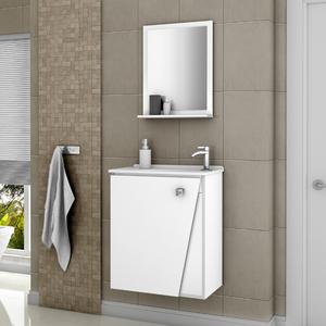 Kit Gabinete de Banheiro Madeira Branco 54x46x31,4 Lisboa Móveis Bechara