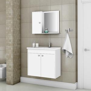 Kit Gabinete de Banheiro Madeira Branco 54x56,5x30 Dayene Sensea