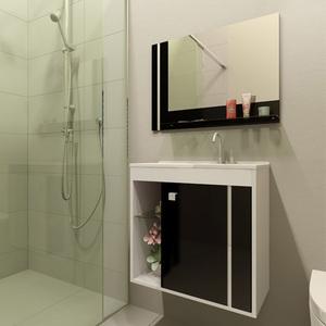 Kit Gabinete de Banheiro Madeira Branco e Preto 56,5x58,5x30 Viena Móveis Bechara