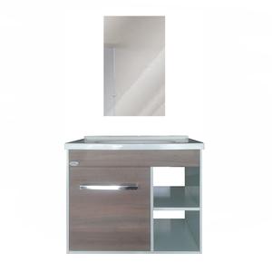 Kit Gabinete de Banheiro Madeira Nogueira 57x35x46cm Maximos Policlass