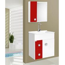 Kit Gabinete de Banheiro Madeira 58x56x34cm Branco e Vermelho Ecco Suspenso 60 Fabribam