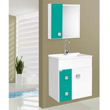 Kit Gabinete de Banheiro Madeira 58x56x34cm Branco e Verde Turquesa Ecco Suspenso 60 Fabribam