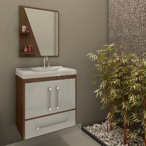 Kit Gabinete de Banheiro Madeira Branco e Marrom 60x55,5x37cm Atenas Móveis Bechara