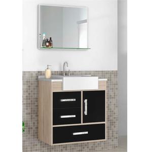 Kit Gabinete de Banheiro Madeira Preto 64x57x39cm Sargas Cerocha
