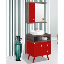 Kit Gabinete de Banheiro Madeira 82x60x42cm Vermelho e Amêndoa Retro 60 Fabribam