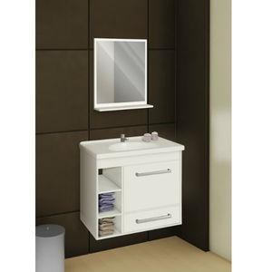 Kit Gabinete de banheiro Madeira Branco 1 Porta 51x57x35 Policlass