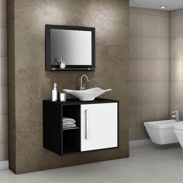 Kit De Banheiro Preto E Branco : Gabinete para banheiro com espelho baden cm branco