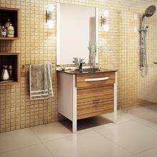 Kit Gabinete de Banheiro Madeira e Metal Amadeirado 88,5x70,4x46,7cm Wood UP Cris Metal