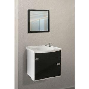 Kit Gabinete de banheiro Madeira Preto 1 Porta 37x41x33 Policlass