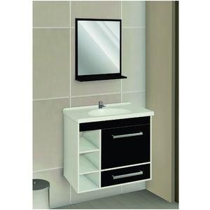 Kit Gabinete de banheiro Madeira Preto 1 Porta 51x57x35 Policlass