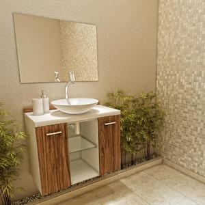 Kit Gabinete de Banheiro MDF Branco e Madeirado 2 Portas 48x60x35cm Terra VTEC