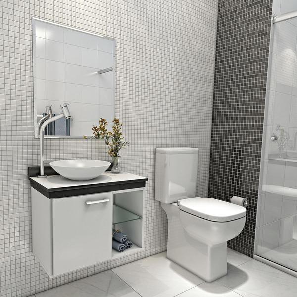 Kit De Banheiro Preto E Branco : Conjunto para banheiro madeira branco e preto cm
