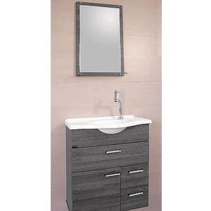 Kit Gabinete de Banheiro Pienza Rafia Cinza 60cm Titan