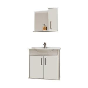 Kit Gabinete de Banheiro Com Espelho Presence MDP Branco Com Cuba Mezzaroba
