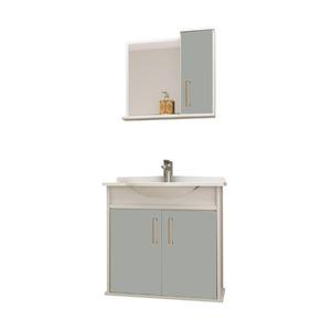Kit Gabinete de Banheiro Com Espelho Presence MDP Grey Com Cuba Mezzaroba