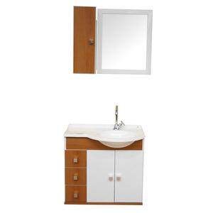 Kit Gabinete de Banheiro com Espelho Prisma MDP Branco com Cuba Moldada Harpex