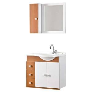 Kit Gabinete de Banheiro com Espelho Prisma MDP Branco/Mel com Cuba Moldada Harpex