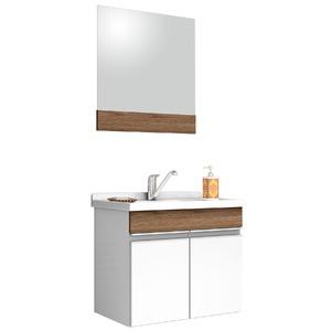 Kit Gabinete de Banheiro Com Espelho Proppus MDF Munique Com Cuba Cerocha
