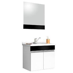 Kit Gabinete de Banheiro Com Espelho Proppus MDF Preto Com Cuba Cerocha