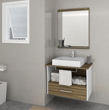 Kit Gabinete de Banheiro com Espelho San Remo II MDF Branco/Terracota sem Cuba Darabas