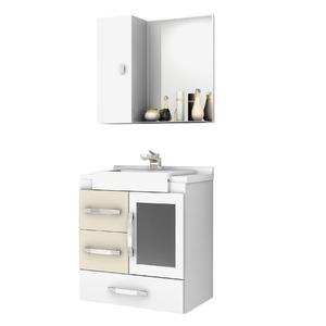 Kit Gabinete de Banheiro Com Espelho Sargas MDF Bege Com Cuba Cerocha