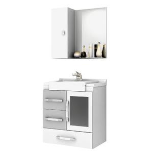 Kit Gabinete de Banheiro Com Espelho Sargas MDF Cinza Com Cuba Cerocha