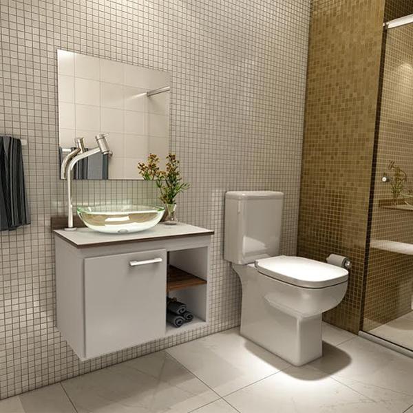 Gabinete para banheiro com espelho sigma 42x55x35cm branco for Lavabos pequenos leroy merlin