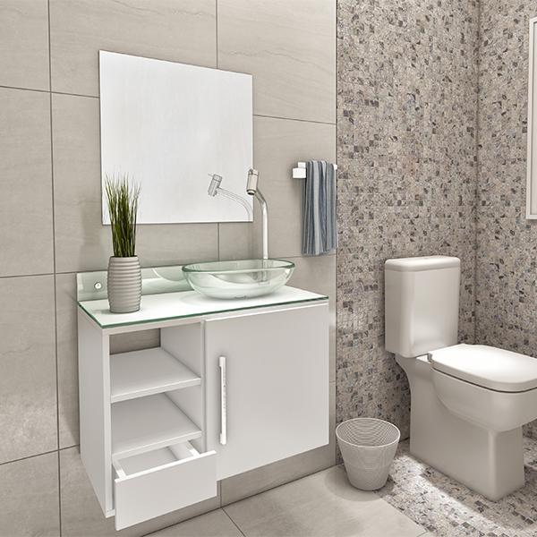 Kit De Banheiro Simples : Gabinete para banheiro com espelho skat cm branco
