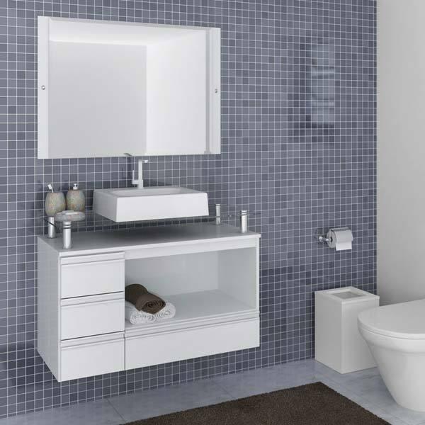 Gabinete para banheiro com espelho sollo 60 5x100x42cm for Gabinetes modernos