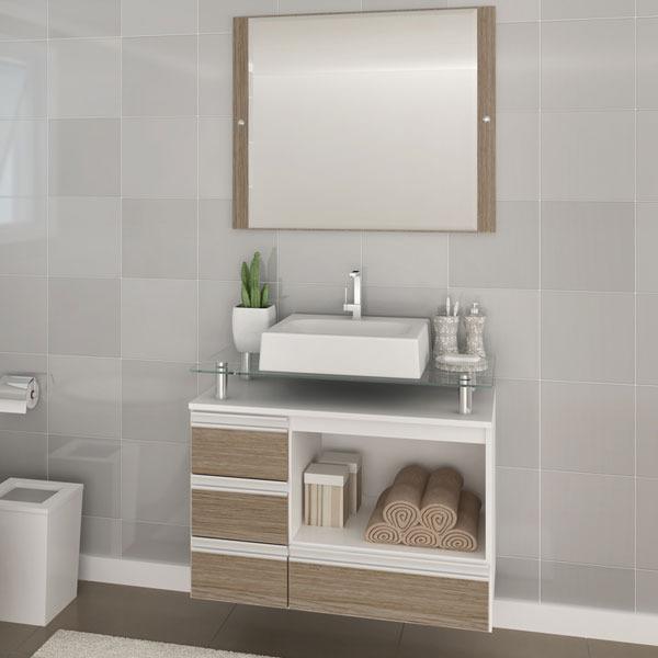 Gabinete Para Banheiro Com Espelho Sollo 605x80x42cm Branco